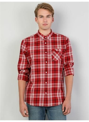 Colin's CL1046449_Q1.V1_RED Slim Fit Ekose Erkek Kırmızı Uzun Kol Gömlek Kırmızı
